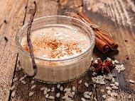 Бърз и лесен веган десерт кокосово мляко с ориз и канела